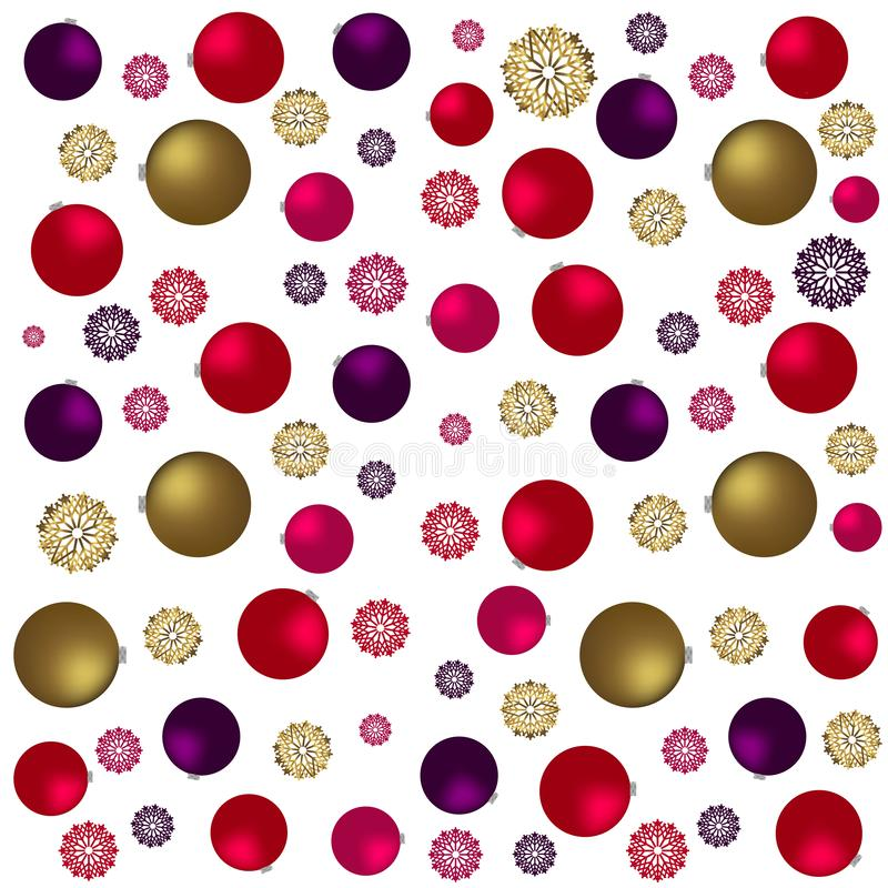 Modèle sans couture de Noël avec les jouets, les étoiles et la sucrerie d'or Fond de fête de Bourgogne et d'or illustration libre de droits