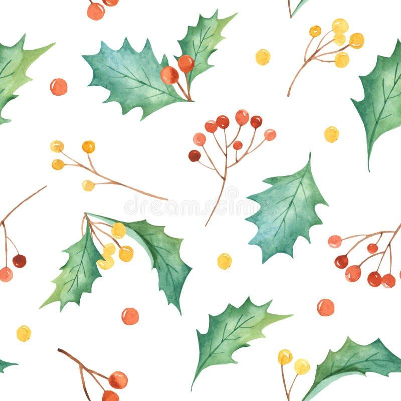 Modèle sans couture de Noël d'aquarelle avec des usines Texture avec des branches de sapin, houx, baies, pin, feuilles illustration de vecteur