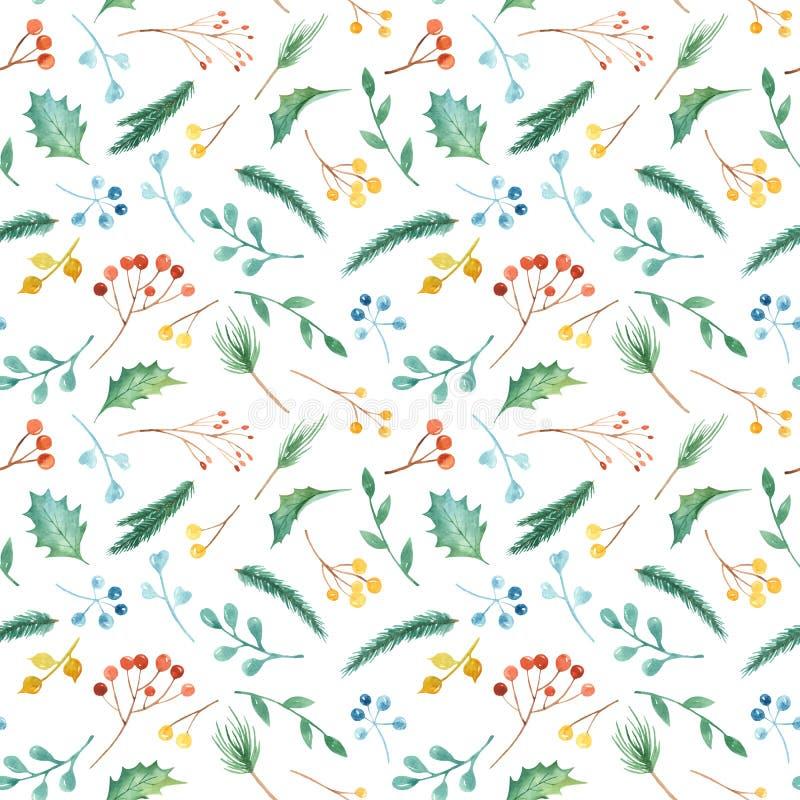 Modèle sans couture de Noël d'aquarelle avec des usines Texture avec des branches de sapin, houx, baies, pin, feuilles illustration stock