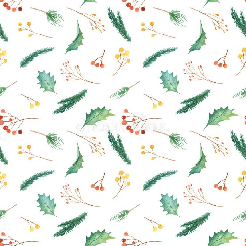 Modèle sans couture de Noël d'aquarelle avec des usines Texture avec des branches de sapin, houx, baies, pin, feuilles illustration libre de droits