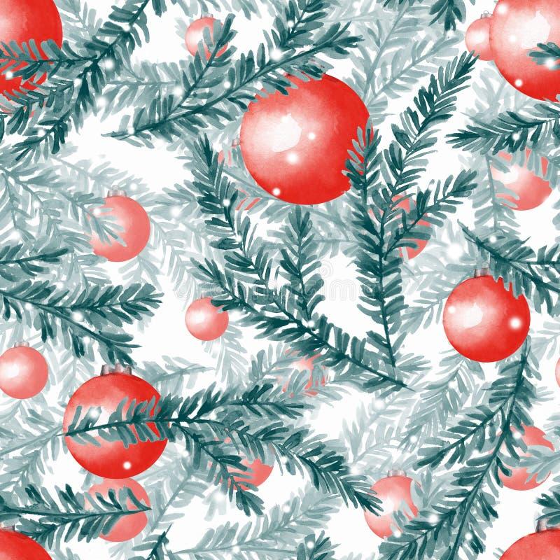 Modèle sans couture de Noël d'aquarelle avec les boules 3 illustration libre de droits