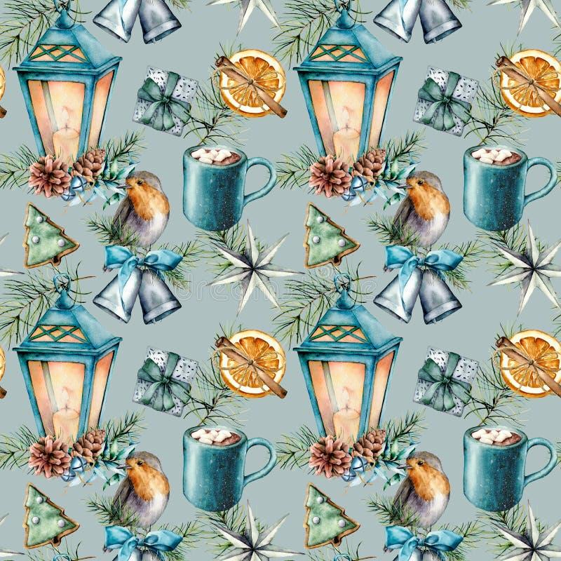 Modèle sans couture de Noël d'aquarelle dans le style scandinave Lanterne bleue peinte à la main, tasse de cacao avec la guimauve illustration stock