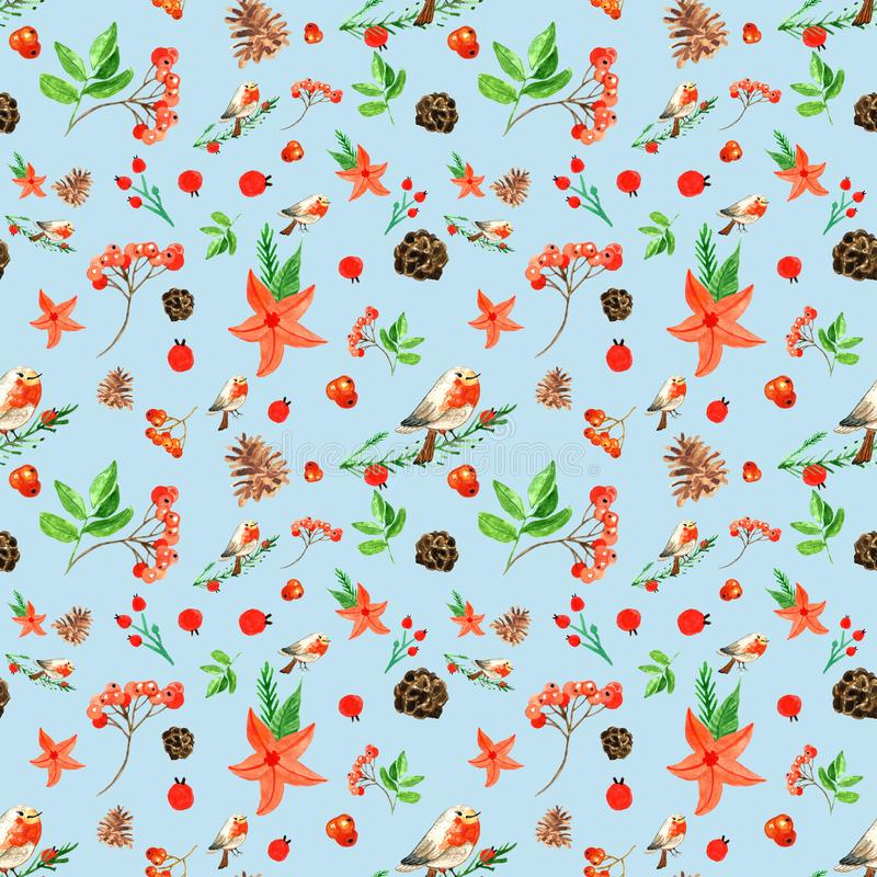 Modèle sans couture de Noël d'hiver avec le bouvreuil mignon, baies de sorbe, cônes de pin, fleurs rouges illustration de vecteur
