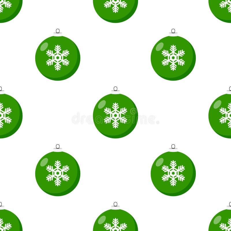 Modèle sans couture de Noël d'icône verte de boule illustration libre de droits