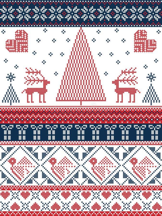 Modèle sans couture de Noël et d'hiver de fête dans le point croisé avec des arbres de Noël, flocons de neige, renne, étoiles, co illustration de vecteur