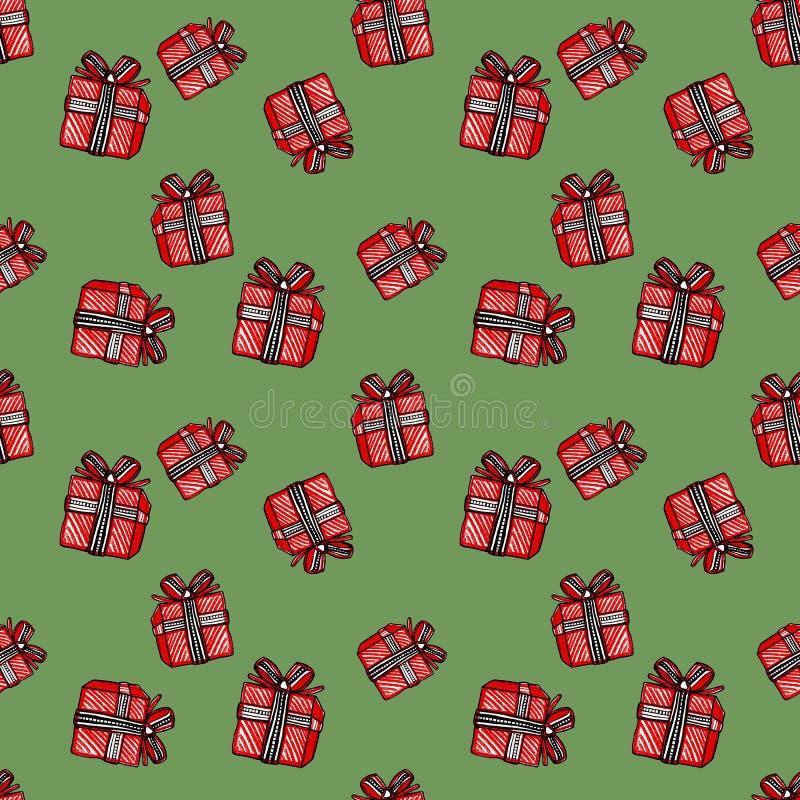 Modèle sans couture de Noël et de nouvelle année avec le boîte-cadeau rouge sur le fond vert illustration stock