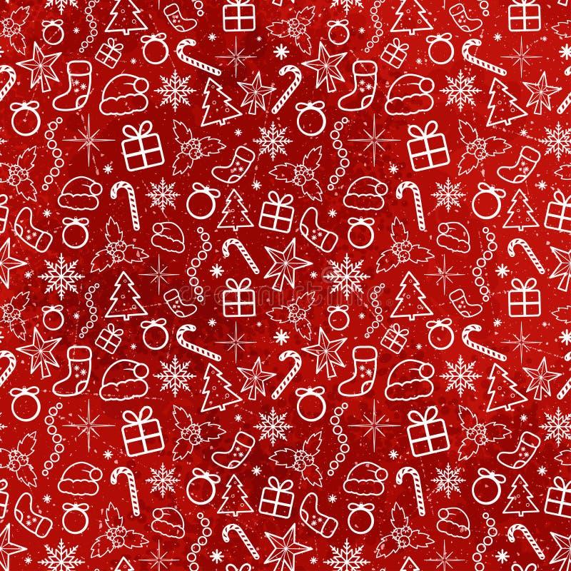 Modèle sans couture de Noël rouge image stock