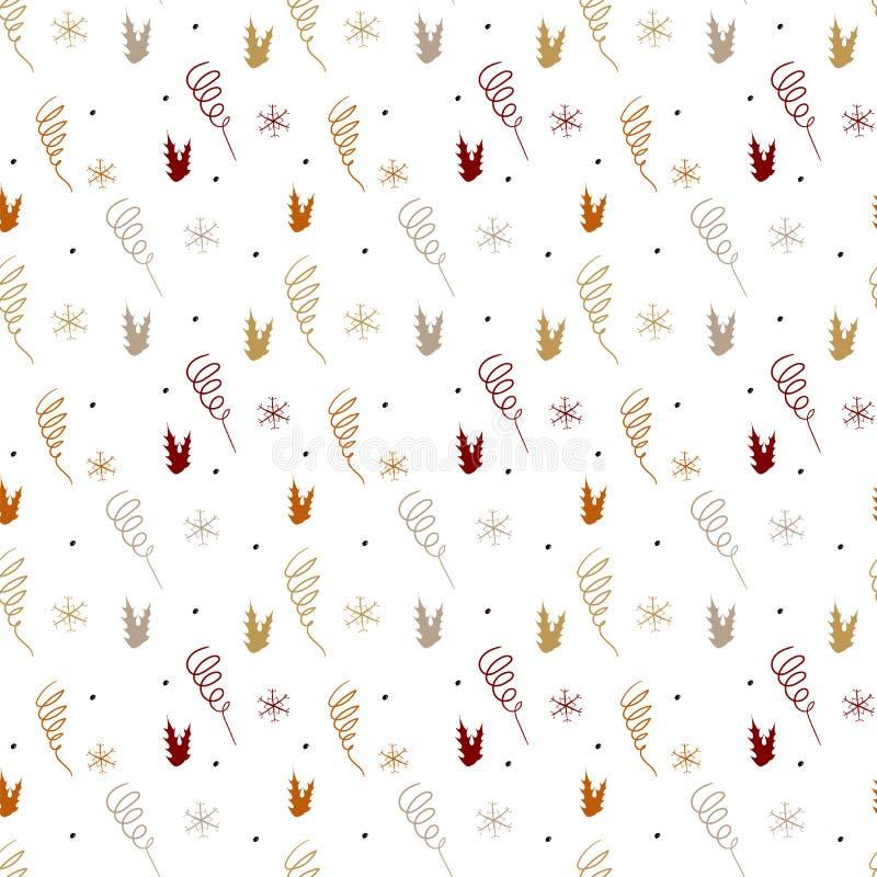 Modèle sans couture de Noël simple de serpentine et de flocons de neige sur un fond blanc illustration stock