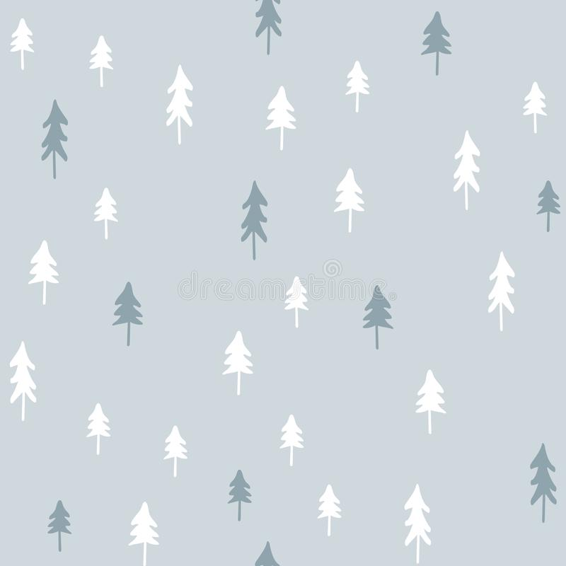 Modèle sans couture de Noël tiré par la main avec des arbres de Noël illustration de vecteur