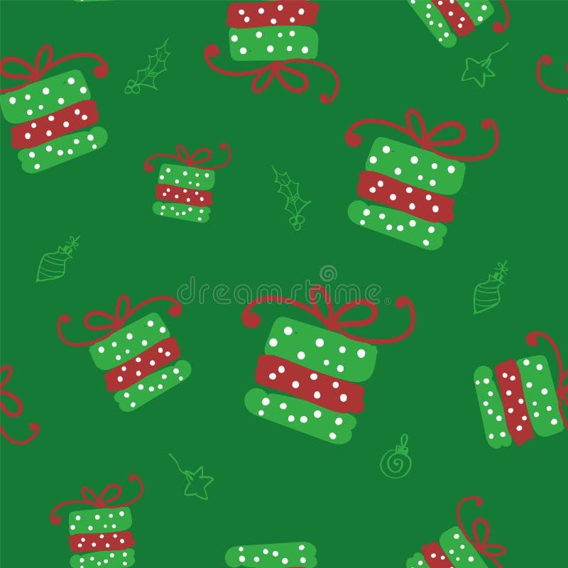 Modèle sans couture de Noël de vert de vecteur avec des boîte-cadeau de griffonnage illustration libre de droits