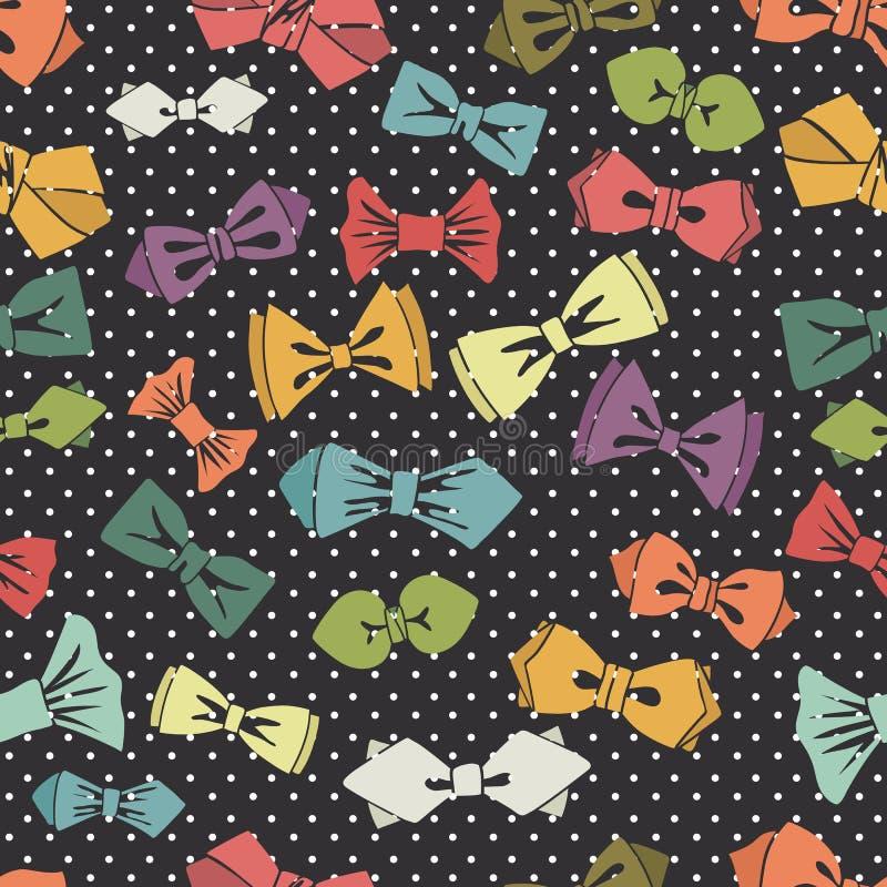 Modèle sans couture de noeud papillon Fond de point de polka illustration libre de droits