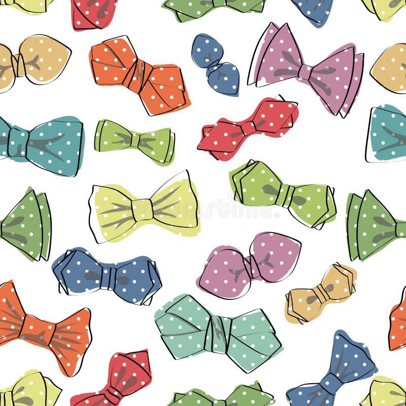 Modèle sans couture de noeud papillon Vecteur drôle illustration de vecteur