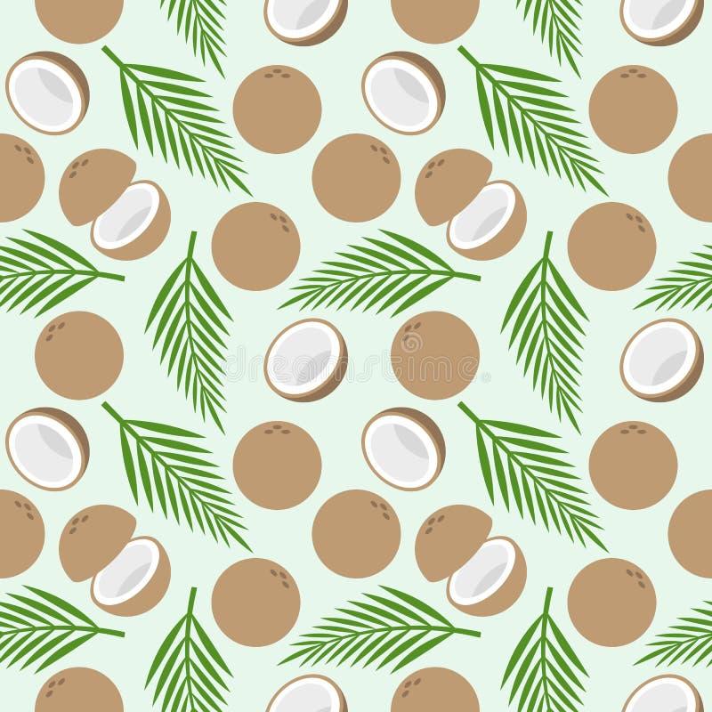 Modèle sans couture de noix de coco, thème d'île pour le papier peint ou emballage illustration stock