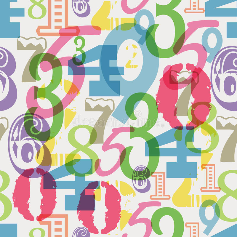 Modèle sans couture de nombres, illustration de vecteur