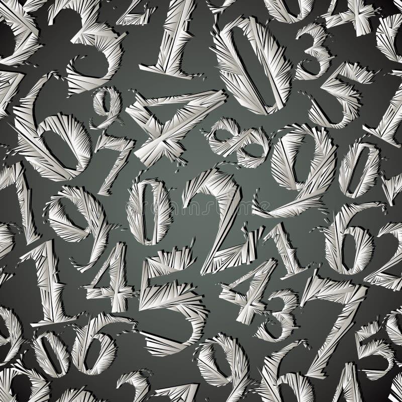 Modèle sans couture de nombres stylisés monochromes de graphique illustration libre de droits