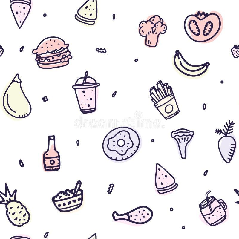 Modèle sans couture de nourriture créative d'ensemble Papier peint tiré par la main de menu d'impression pour tous buts Consommat illustration libre de droits