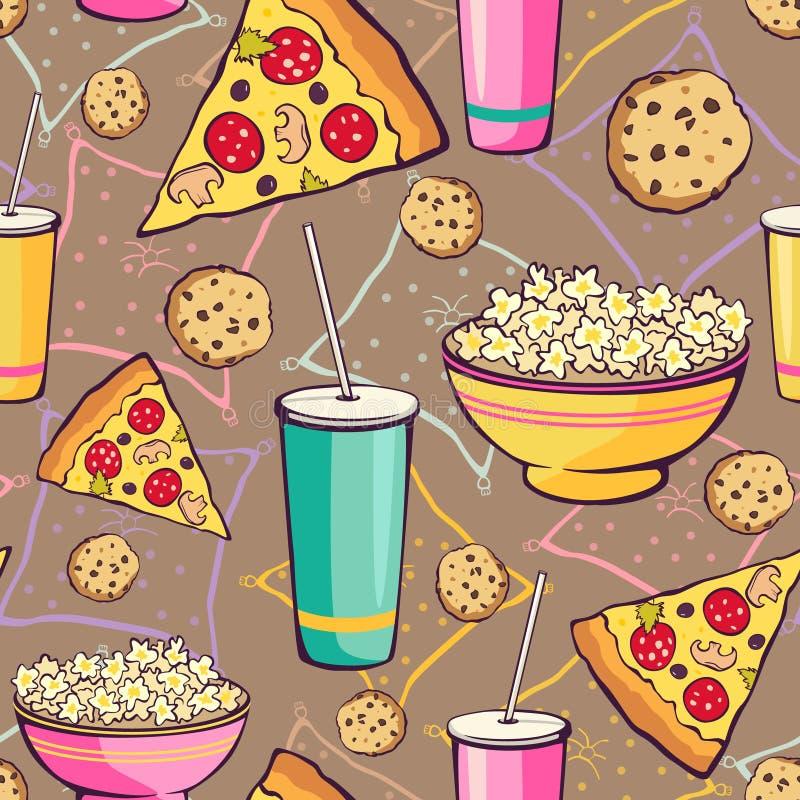 Modèle sans couture de nourriture de soirée pyjamas de Brown de vecteur illustration stock