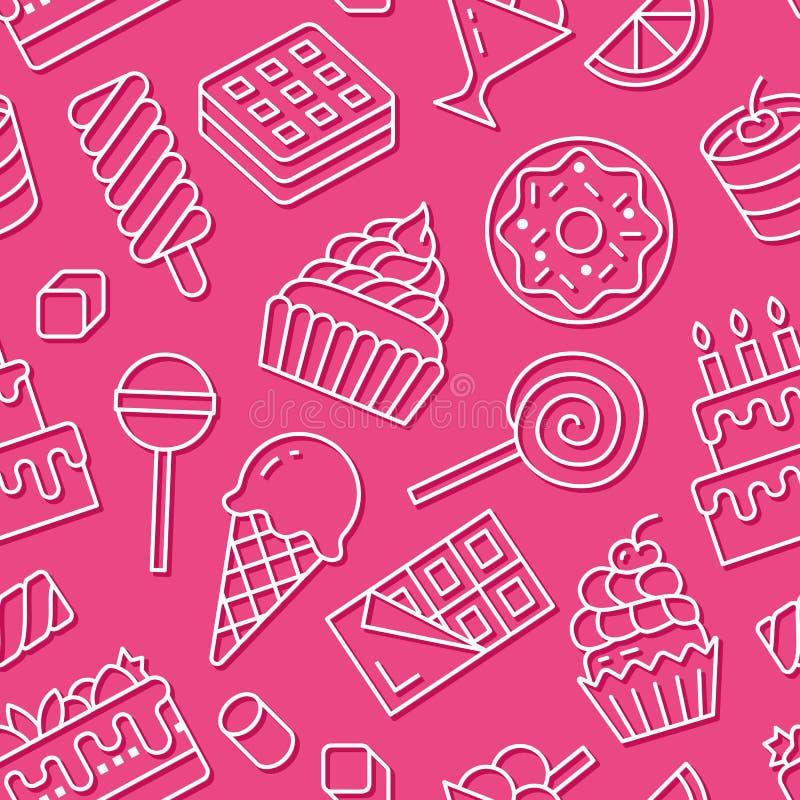 Modèle sans couture de nourriture douce avec la ligne plate icônes Illustrations de vecteur de pâtisserie - lucette, barre de cho illustration libre de droits