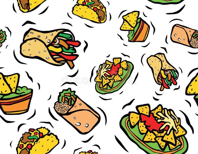 Modèle sans couture de nourriture mexicaine illustration de vecteur