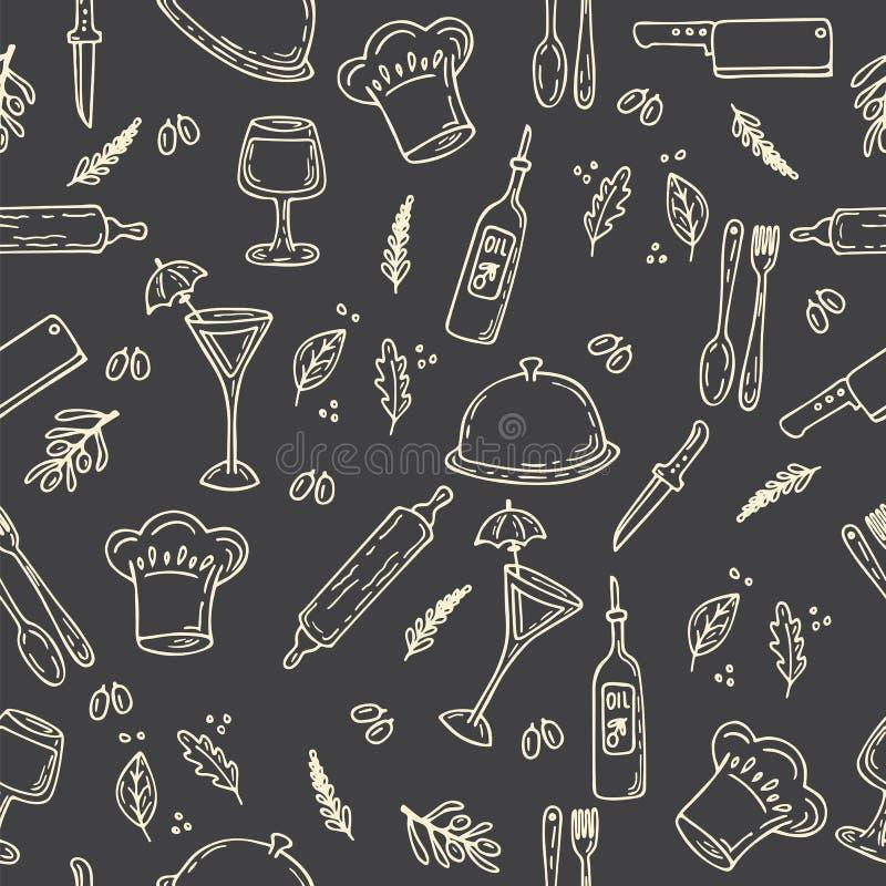 Modèle sans couture de nourriture tirée par la main Éléments de conception de cuisine de croquis illustration libre de droits