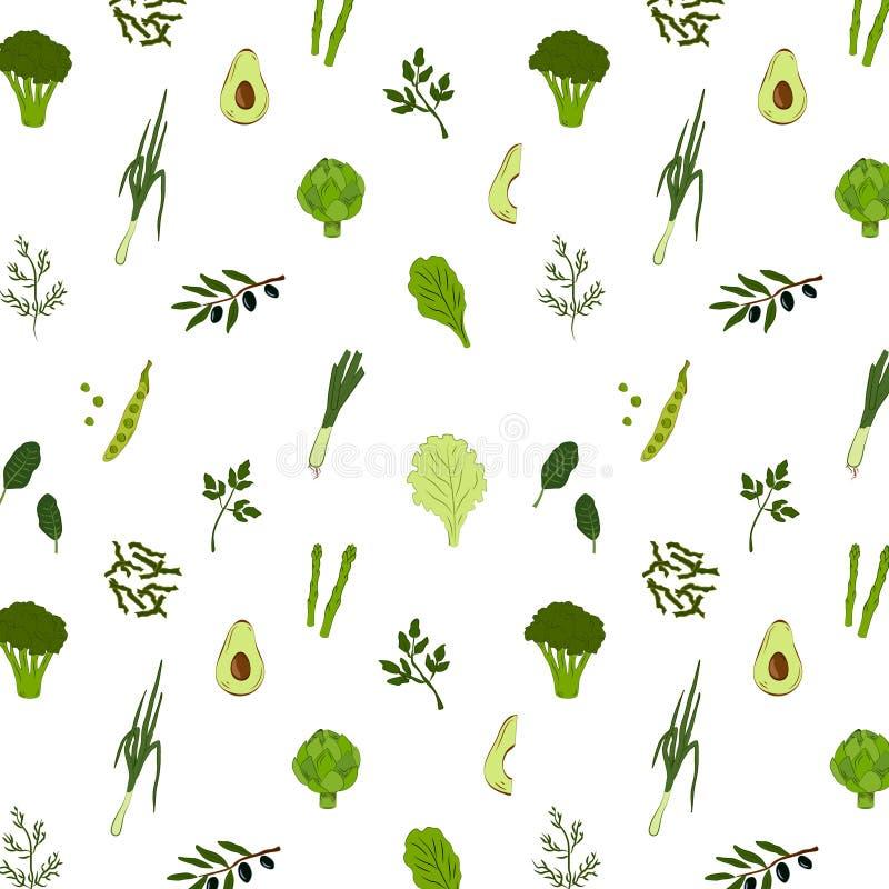 Modèle sans couture de nourriture verte images libres de droits