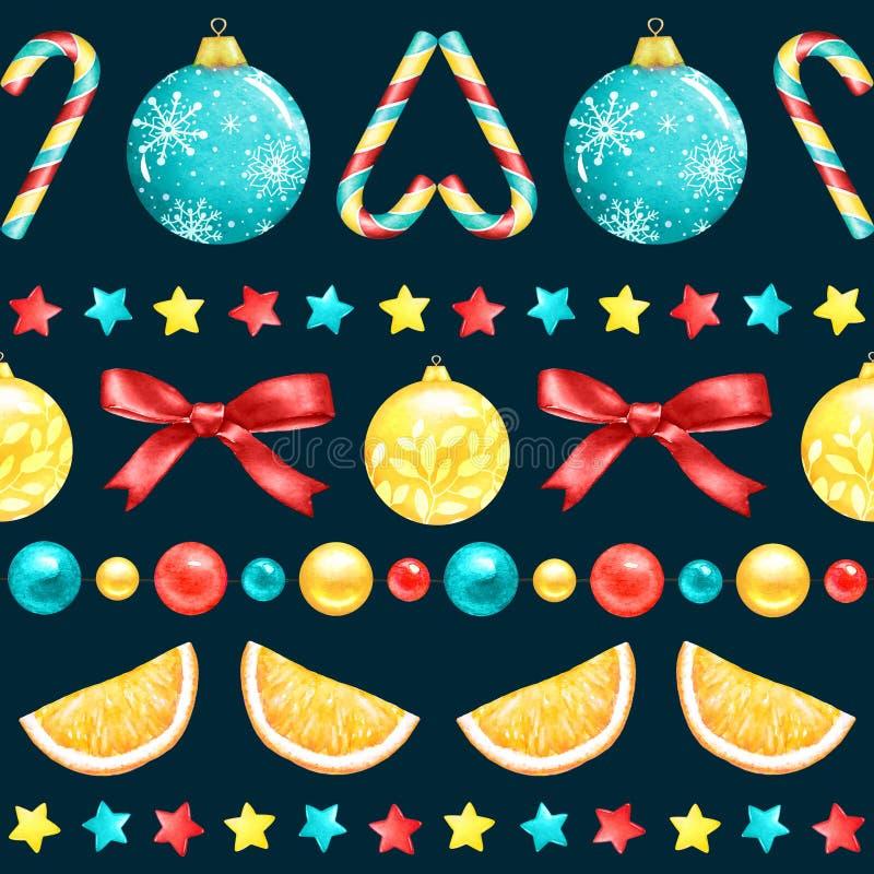 Modèle sans couture de nouvelle année avec les éléments et les bonbons décoratifs d'aquarelle sur le fond bleu illustration libre de droits