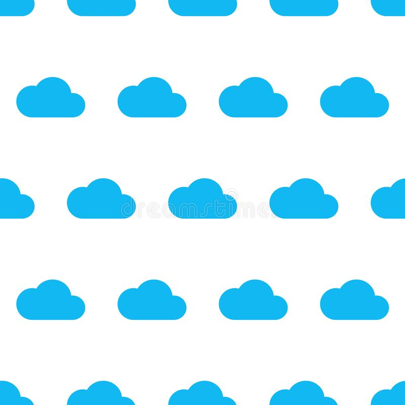 Modèle sans couture de nuage bleu sur le fond blanc du vecteur i illustration stock