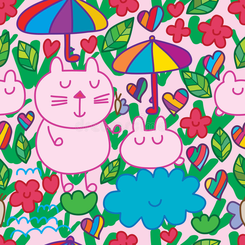 Modèle sans couture de nuage de parapluie de chat de bande dessinée illustration de vecteur