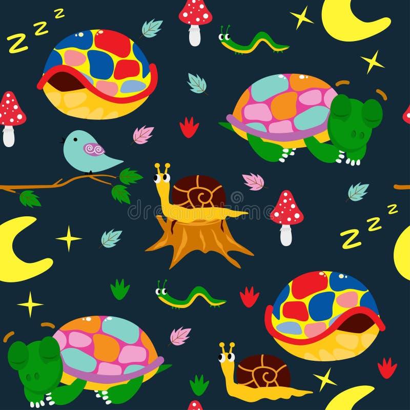 Modèle sans couture de nuit avec les tortues colorées - illustration de vecteur, ENV illustration stock
