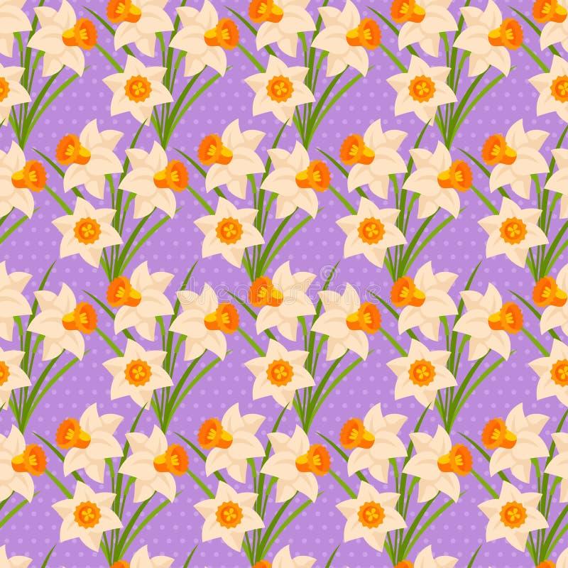 Modèle sans couture de Pâques avec des jonquilles illustration stock