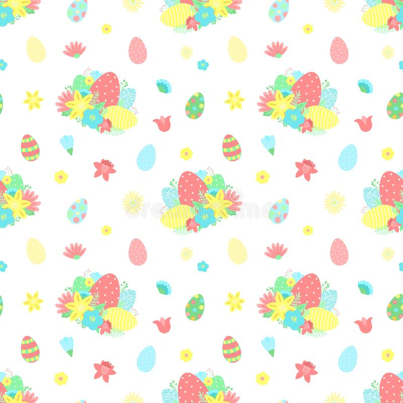 Modèle sans couture de Pâques avec les oeufs colorés, fleurs, bouquet sur un fond transparent Illustration tirée par la main de v illustration stock