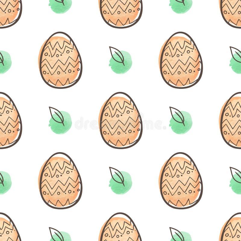 Modèle sans couture de Pâques avec les oeufs oranges illustration de vecteur