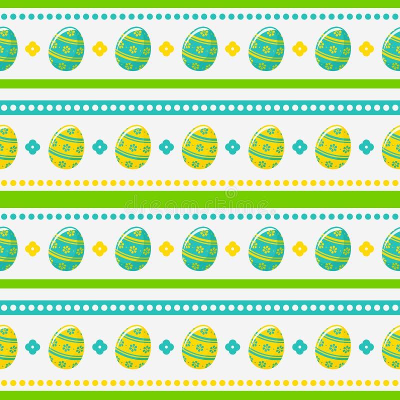 Modèle sans couture de Pâques avec les oeufs peints Fond de vecteur illustration stock