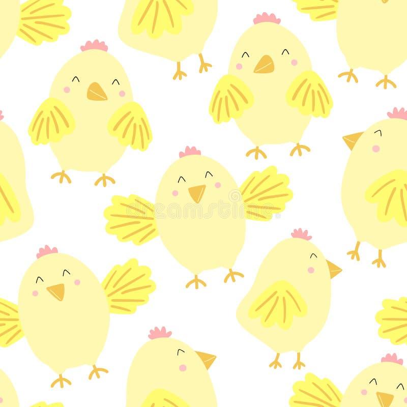 Modèle sans couture de Pâques des poussins drôles sur un fond transparent Illustration tirée par la main de vecteur de poulet pou illustration de vecteur