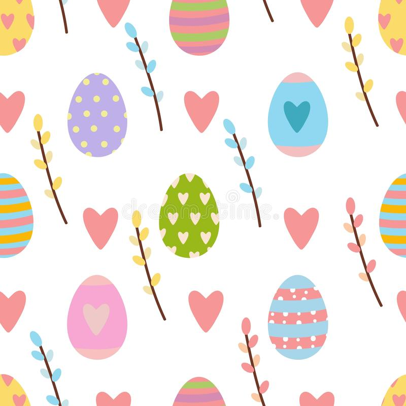 Modèle sans couture de Pâques fait d'éléments tirés par la main de printemps illustration stock