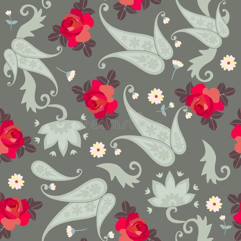 Modèle sans couture de Paisley de cru avec les roses rouges et les petites fleurs Copie à la mode pour le tissu illustration stock