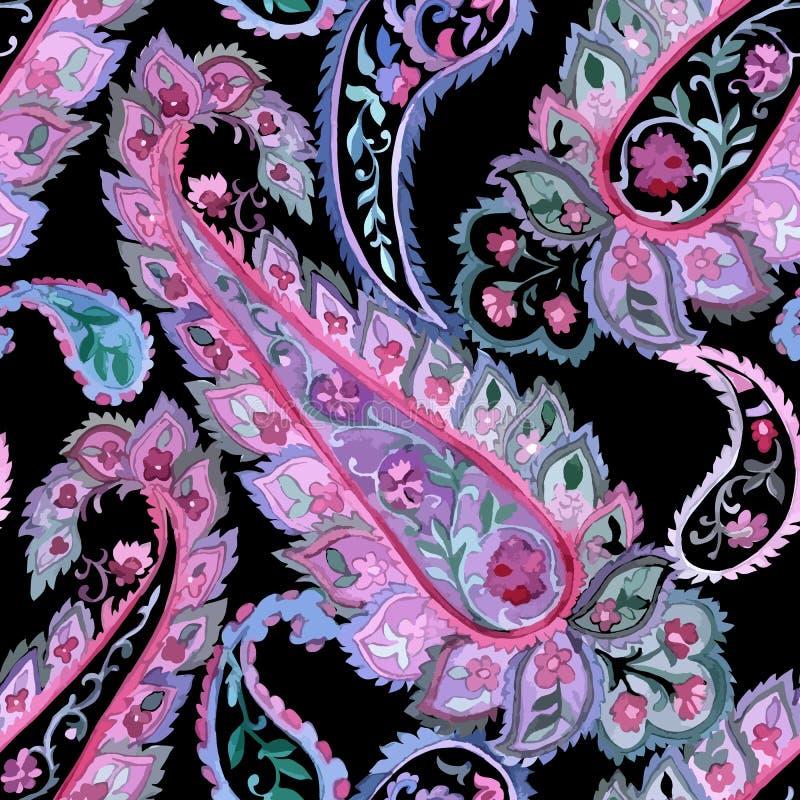 Modèle sans couture de Paisley d'aquarelle illustration stock