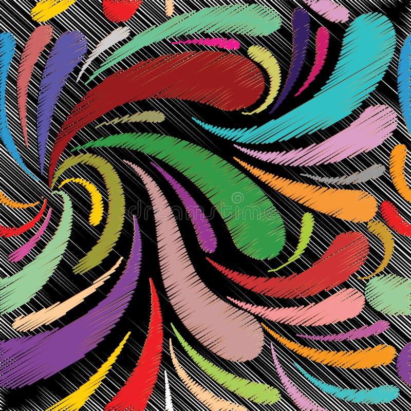 Modèle sans couture de Paisley de style floral de broderie Colorfu de vecteur illustration libre de droits