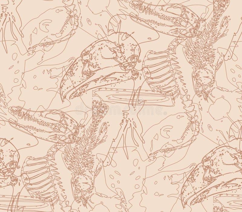 Modèle sans couture de paléontologie avec des os illustration de vecteur