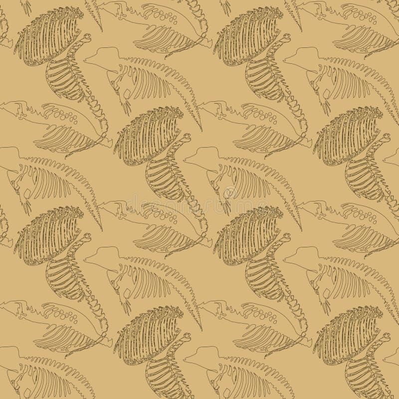 Modèle sans couture de paléontologie avec des os illustration stock