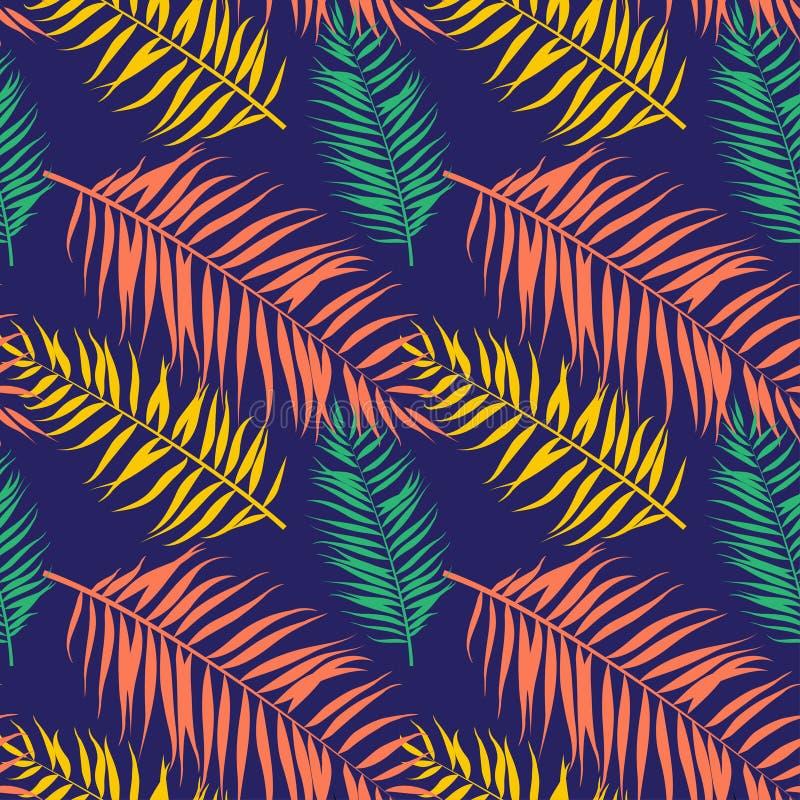 Modèle sans couture de palmettes de couleur Style plat illustration libre de droits