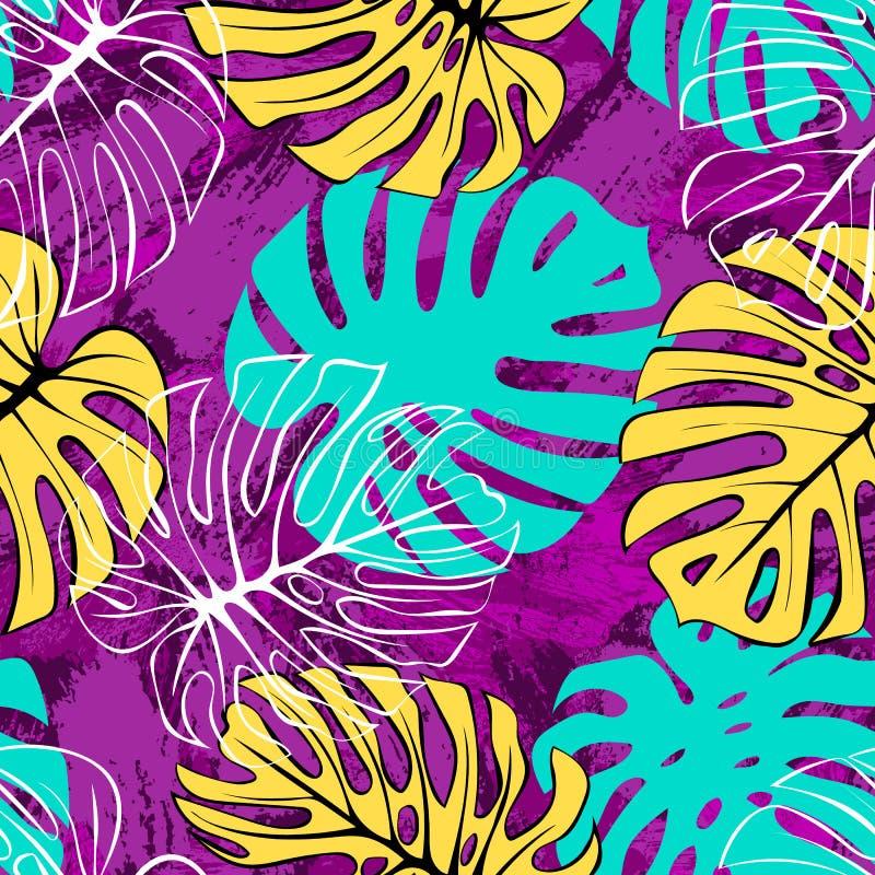 Modèle sans couture de palmettes exotiques tropicales de monstera Backgound exotique de jungle illustration de vecteur