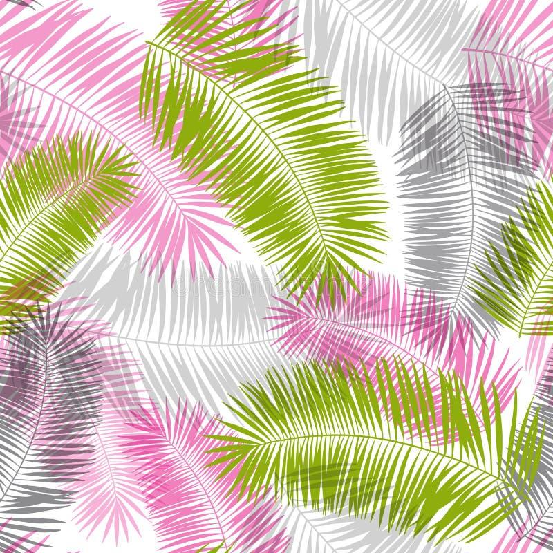 Modèle sans couture de palmettes roses, grises et vertes illustration de vecteur