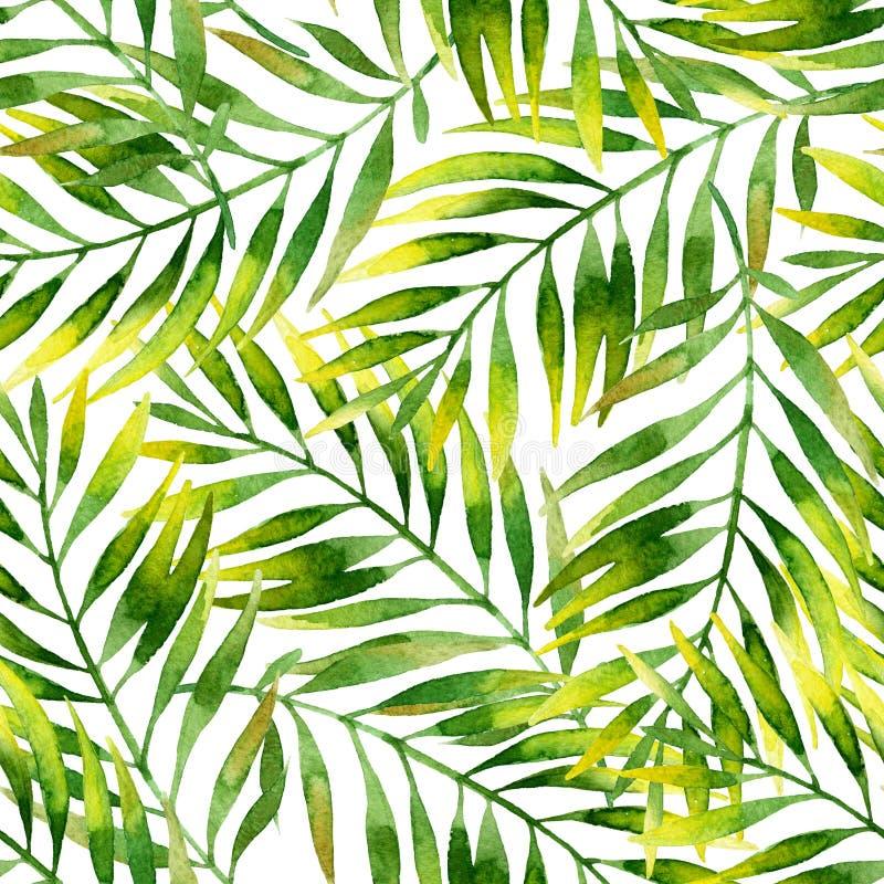 Modèle sans couture de palmettes simples d'aquarelle illustration stock