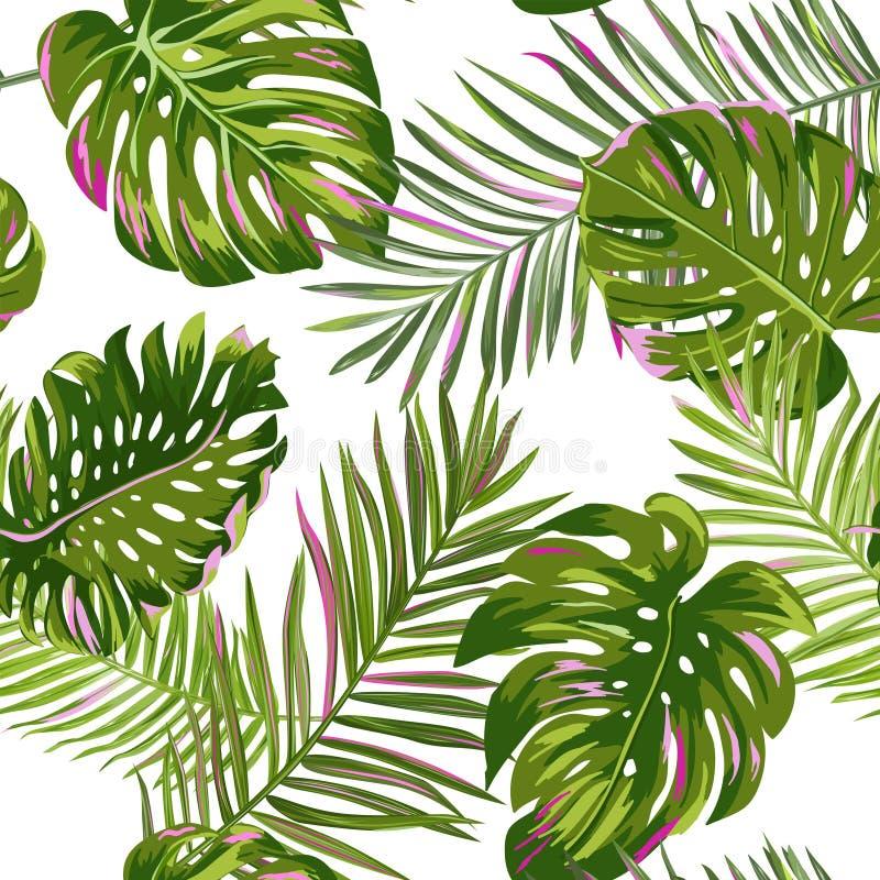 Modèle sans couture de palmettes tropicales Fond floral d'aquarelle Conception botanique exotique pour le tissu, textile illustration libre de droits