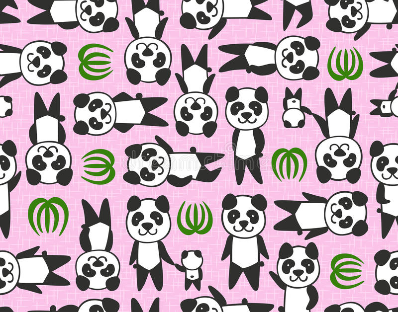 Modèle sans couture de panda de bande dessinée illustration stock
