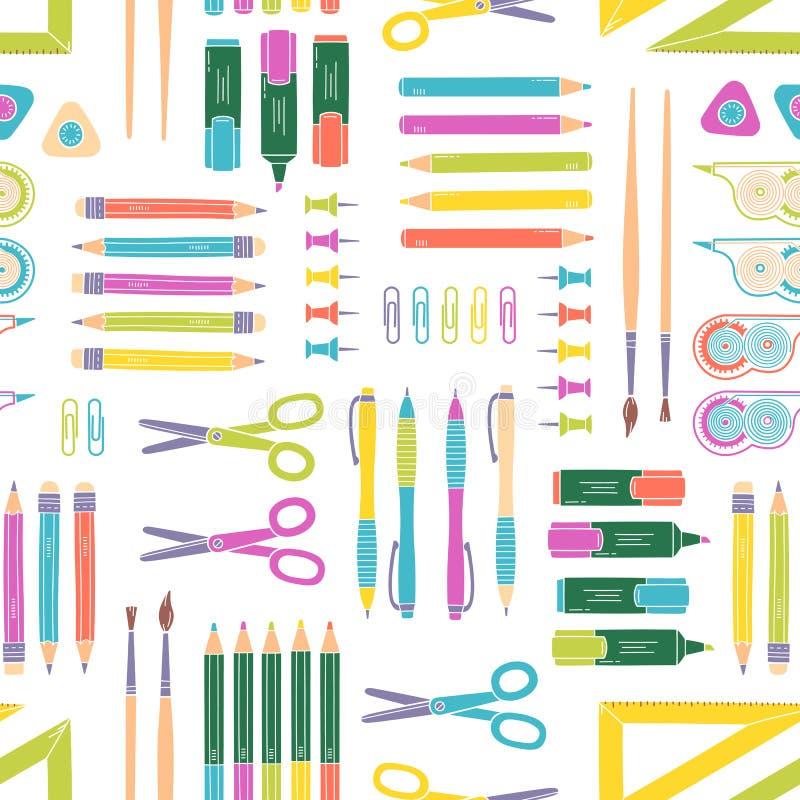 Modèle sans couture de papeterie de vecteur Fond d'école et de bureau illustration stock