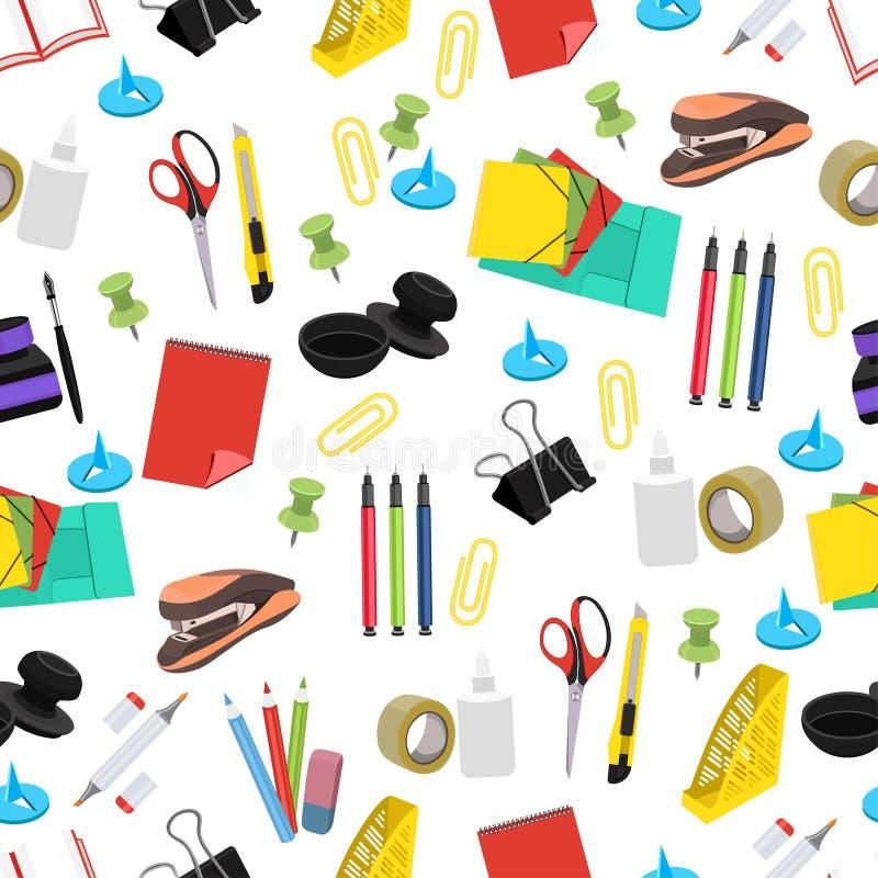Modèle sans couture de papeterie, fond de vecteur Outils multicolores de bureau sur un contexte blanc Pour la conception de papie illustration de vecteur
