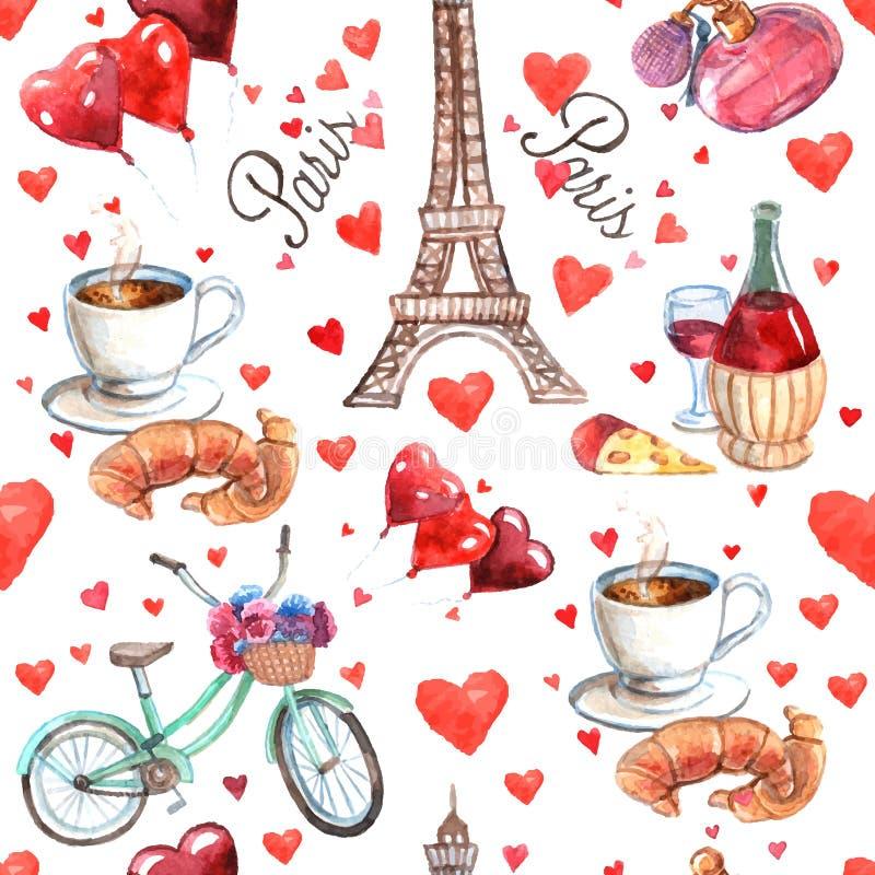 Modèle sans couture de papier d'enveloppe de souvenir de Paris illustration libre de droits