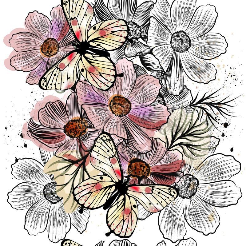 Modèle sans couture de papier peint avec les fleurs tirées par la main de cosmos illustration libre de droits